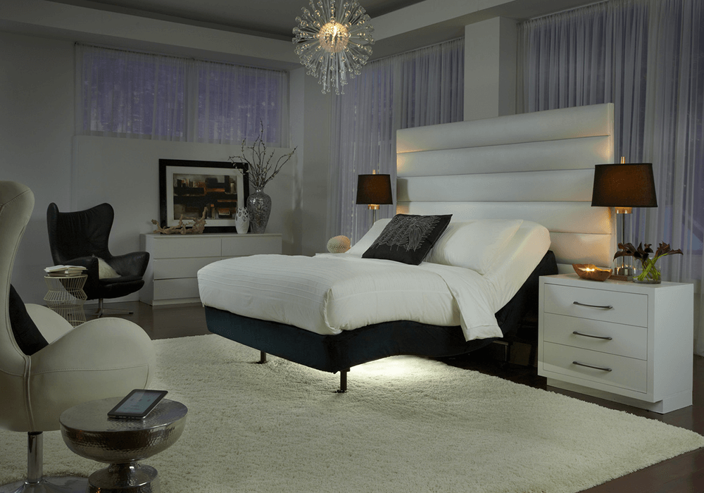Beautiful bedroom with adjustable bed